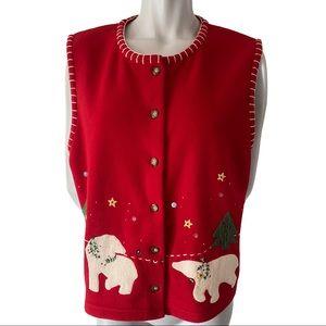 Susan Bristol Christmas Polar Fleece Vest XL